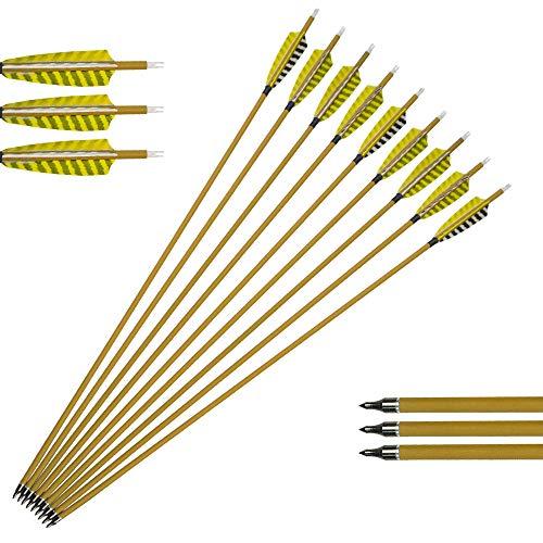 ZSHJG 12pcs Carbonpfeile für Bogenschießen 30 Zoll Jagdpfeile Spine 450 Bogenpfeile mit 4 Zoll Naturfedern für Compound und Recurve Bogen Pfeile für Bogensport