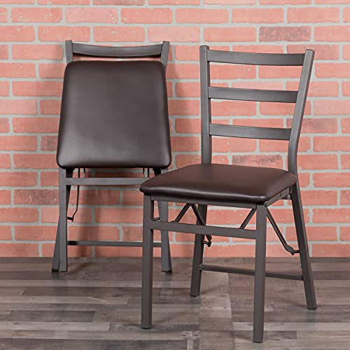 Flash Furniture Hercules Series - Sillas Plegables (Metal, 2 Unidades), Color marrón