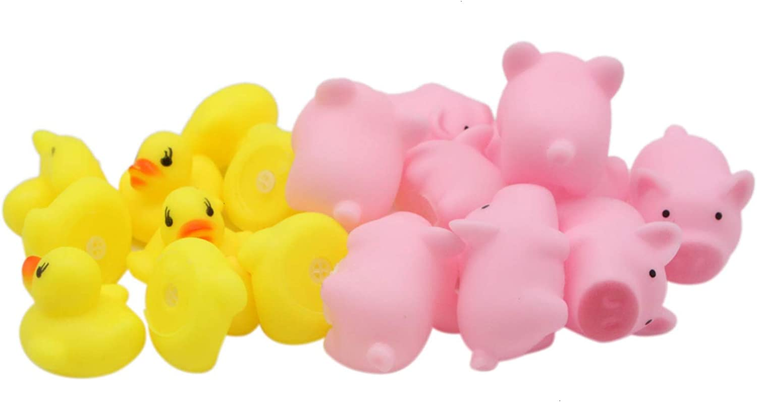 JETEHO Set of 20 Mini Yellow Rubber Ducks & Rubber Pig Baby Bath Toy for Kid, Novelty Toy Shower Birthday Party Favors Gift