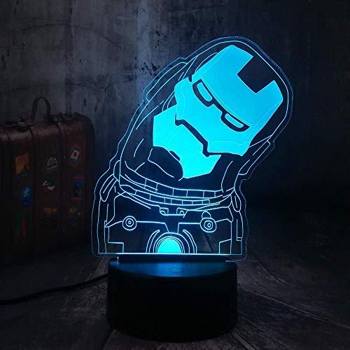 Luces sinfónicas 3D Leyenda de luz nocturna LED Hermosa Iron Man Art Lámpara de mesa USB Decoración del hogar Juguetes para niños Fiesta de Navidad Regalo Regalo de cumpleaños