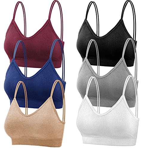 Thrilez 6Pcs V Neck Cami Bras for Women, Camisole Non-Wired Bralettes, Seamless Sports & Sleeping & Home Bra with Double Straps & Removable Pads for Women Girls - (L)