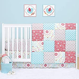 crib bedding and baby bedding the peanutshell mila floral crib bedding set for baby girls | 5 piece nursery set | baby quilt, crib sheet, dust ruffle, rail cover, plush crib toy