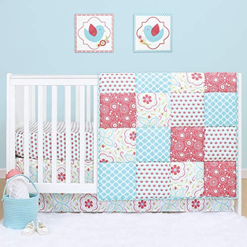 The Peanutshell Mila Floral Crib Bedding Set for Baby Girls | 5 Piece Nursery Set | Baby Quilt, Crib Sheet, Dust Ruffle, Rail Cover, Plush Crib Toy