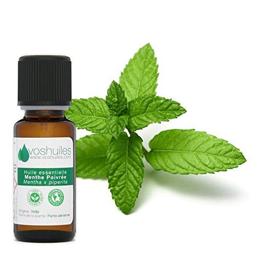 Huile Essentielle de Menthe poivrée - 100% Pure et Naturelle - HEBBD - Diluer dans une Huile Végétale - Idéal pour Massage - Parfum Mentholé - 20 ml - VOSHUILES