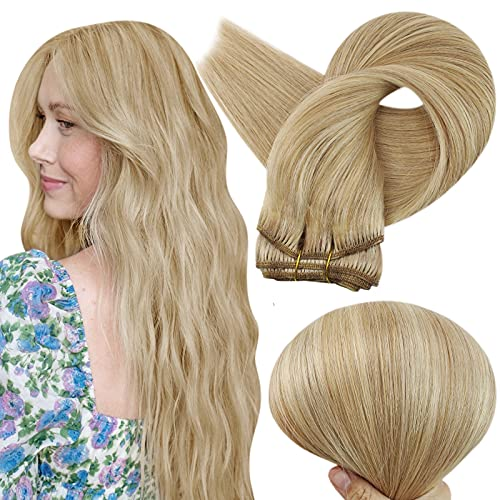 Full Shine Clip in Hair Extensions Blonde 14inch Remy Clip in Human Hair Extensions #16 Dark Ash Blonde Highlighted Mix...