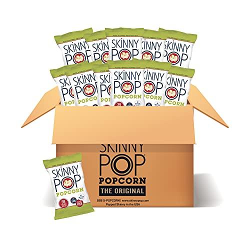 SkinnyPop Original Popcorn, 12ct, 1oz Individual Snack Size Bags, Skinny Pop, Healthy Popcorn Snacks, Gluten Free