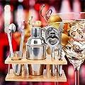 Ridgeyard 8 Pcs Stainless Steel Cocktail Bartender Bar Set Kit,Mixer Bundle Drink Martini Tools, Shaker, Double Jigger,Lemon Knife, Strainer,Bottle Opener,Ice Tongs Wood Stand Christmas Gift