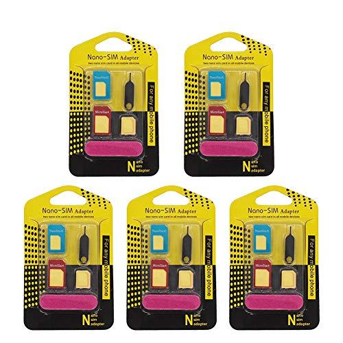 SIM Karten Adapter 5 in 1 Nano Micro Standard SIM Karten Card Adapter Set Kit 5er Pack/Fünferpack in Premiumqualität von ymai