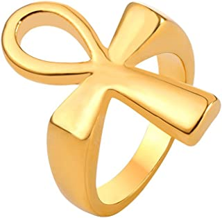 Men Women's Stainless Steel 18K Gold Plated Vintage Egyptian Jewelry Eye of Horus Band Ring/Cross Ankh Ring, Size 7 to 12 -with Custom Engraving Service