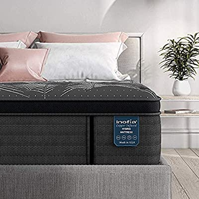 Full Mattress 14 Inch, Inofia Cooling Copper Adaptive Spring Hybrid Mattress, Motion Isolation Pocket Coil with Memory Foam, Mattress-in-a-Box, Pressure Relief Supportive, Medium Firm- Made in USA
