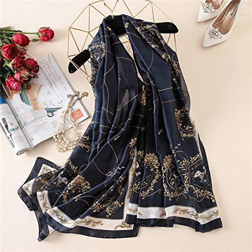Chunjiao Zijden sjaal for vrouwen modedruk sjaal wrap elegante dame herfst winter sjaals reizen Sunscreen sjaal bikini cover-up Stijlvolle sjaal en omslagdoek