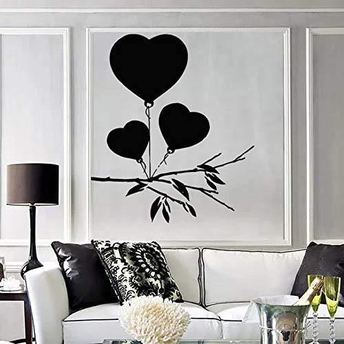 XCJX Romantische Kunst Wandaufkleber Für Schlafzimmer Zeichnung Herz Luftballons für Valentinstag Einzigartiges Geschenk Vinyl Wandtattoo Decor Wohnzimmer 57x65 cm