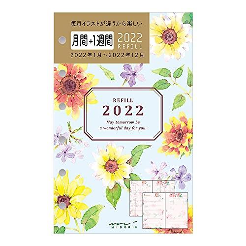 ミドリ 手帳 リフィル 2022年 B7 ウィークリー ミニ6穴 カントリータイム 花柄 32879006 (2022年 1月始まり)