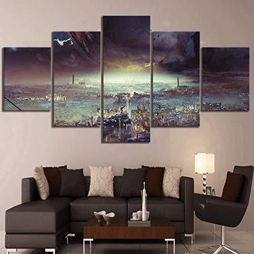 Whoops 5 unidades de pintura de pared Destiny 2 Game Poster Lost Planet Cityscape Hd Fantasy Art lienzo pinturas para el dormitorio decoración de la pared Sin marco 30 * 40 * 2 30 * 60 * 2 30 * 80Cm