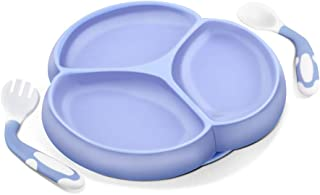 Silicone-Divided-Suction-Toddler-Plate, SILIVO Silicone Non-Slip Baby Plate with Suction BPA Free Plus Bendable Baby Feeding Spoon and Fork for Kids, Toddlers and Children - Blue