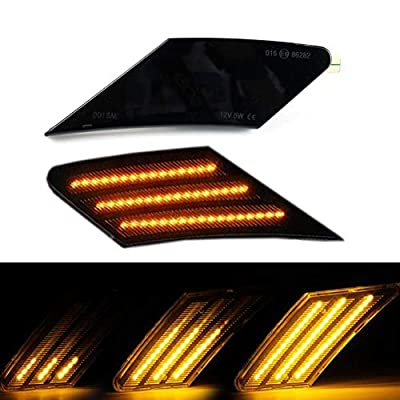 2PC Dynamic LED Side Marker Light Turn Signal Lamp Smoke Lens Sequential For Scion FR-S 2013-2020 Subaru BRZ Toyota 86, Driver & Passenger Side,Amber