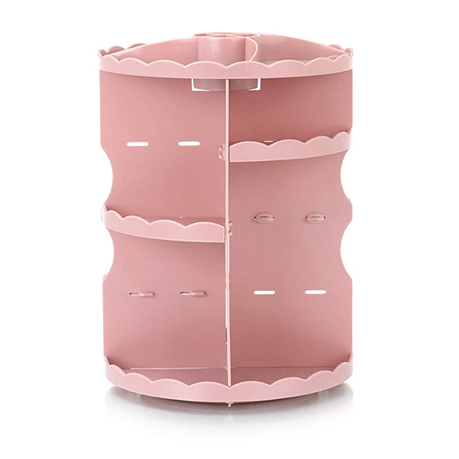 満足アストロラーベギャラリー化粧品収納ボックス クリア アクセサリースタンド コスメボックス 組み立て式 化粧道具入れ 円形 超大容量 高さ調節可能 整理簡単 360回転可能 小物入れケース 卓上 洗面所 多機能 ピンク