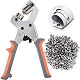 BIZOEPRO Grommet Tool Kit Grommets Press Grommet Pliers Punch Kits Handheld Eyelets W/with 500pcs 3/8 Inch (10mm) Silver Grommets