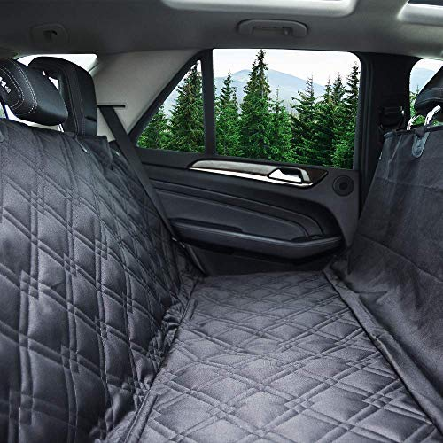 Bulldogology Dog Car Seat Covers 100% Waterproof Hammock Car Seat Cover for Pets - Heavy Duty Scratch Durability, Nonslip Backing, Quilted, Padded, Pet Seat Covers for Cars (Large, Black)