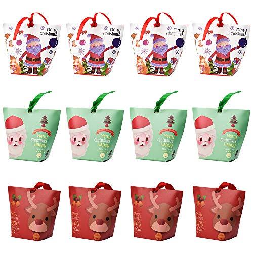 Annvchi - Cajas de regalo de Navidad - Caja de cartón para galletas para fiestas, baby shower, Navidad, bodas, 12 unidades