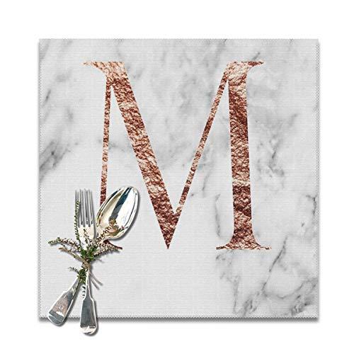 Rterss Placemats Placemat eettafel wasbaar zacht en kreuken gratis tafelmatten Monogram Rose marmer M (6 stuks) op maat