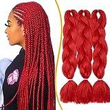 24' Mèche Tresse Africaine Hair Braid - 3PCS, Rouge - Extension Cheveux Tresse Synthétique Braiding Hair Extension