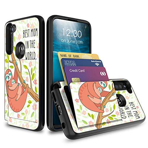 for Moto G Stylus Case 2020, BEROSET Credit Card Holder Wallet Dual Layer Full Body Shockproof Protective Phone Case Cover for Motorola Moto G Stylus,Best Mom in The World Sloth