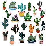 Soleebee Mezclado Lindo Parche Termoadhesivo Applique Accesorios Juego de Parches de Costura Bordados a Mano para Niños Ropa de Bricolaje, Jeans, Bolso, Zapatos (22 Piezas - Cactus)