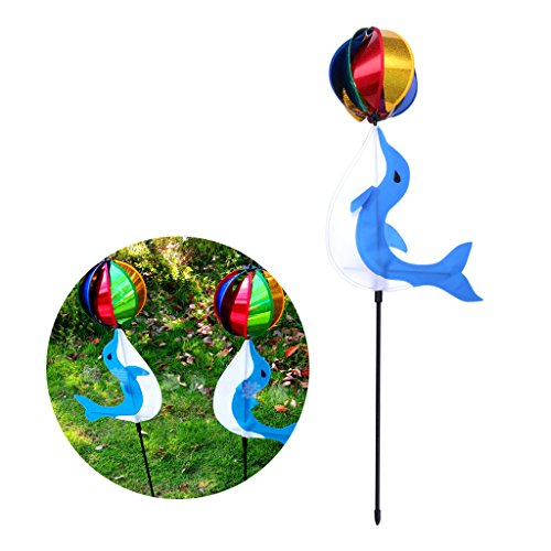 Jesse Dolphin Wind Spinner Sequins Ball 3D Colorful Funny Windmill for Yard Garden Leaves and Bar Color Random (Fish)