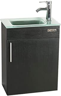 eclife 18.4'' Bathroom Vanity Combo, Modern Design Wall Mounted Vanity Set with Terpered Glass Sink Top & Chrome Faucet & Flexible U Shape Drain (A15E01)
