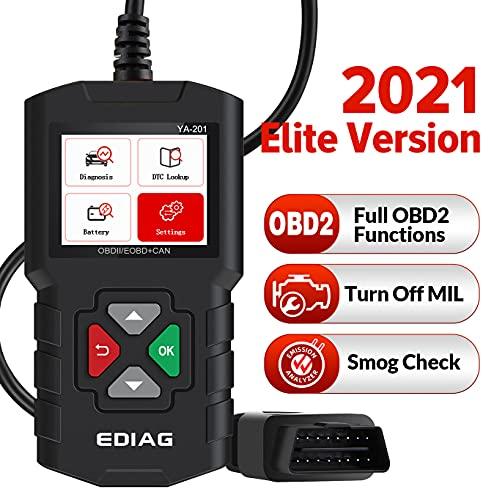 EDIAG Escáner de Motor OBD2, YA201,Maquina Diagnosis Coche Herramientas, Lector de Código de Falla, verificación de Smog, Cuadro Congelado, Datos en Vivo, Prueba de Estado de la Batería en el Gráfico…
