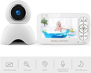 Vigilabebés con Cámara BOIFUN Bebé Monitor Inalambrico Inteligente con Pantalla LCD HD de 5 Acercarse Cámara Gira Automáticamente Visión Nocturna Modo de Dormir Comunicación Bidireccional