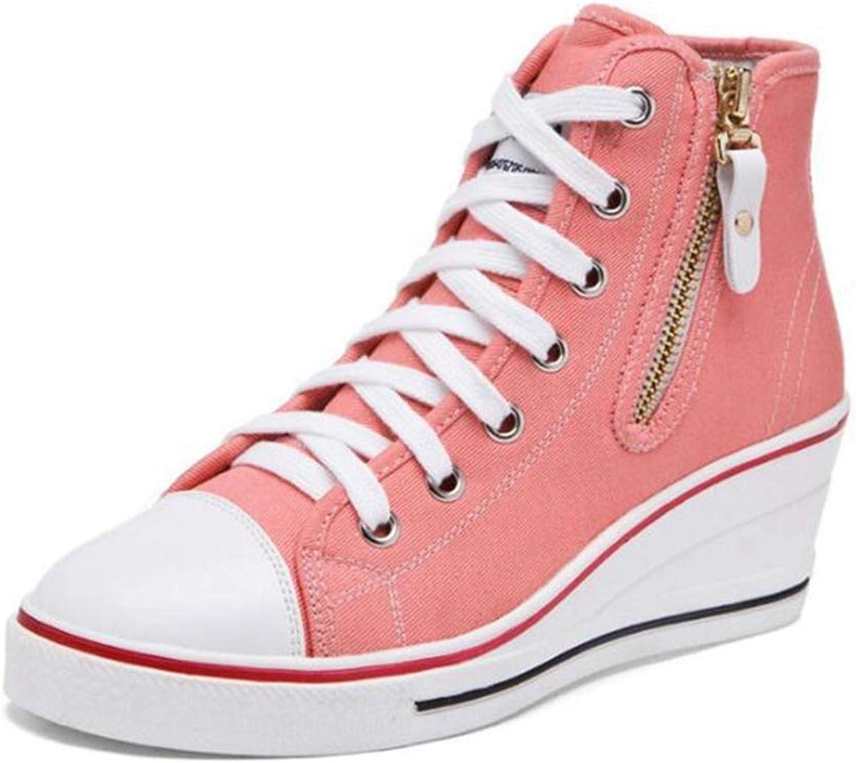 U-MAC Womens Wedge Sneakers Fashion Canvas Casual Soft Rubber Sole Height Increasing Zipper Casual Walking shoes