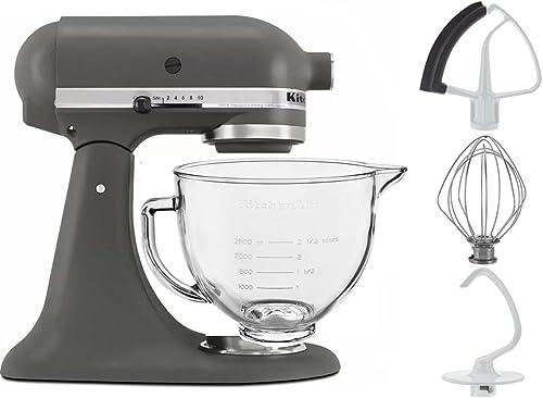 wholesale KitchenAid 5-Quart Tilt Head Grey new arrival outlet sale Stand Mixer With Flex Edge Beater Glass Bowl Imperial Gray online sale