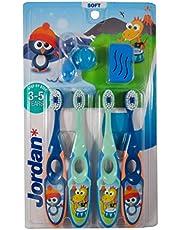 Jordan*   Step 2   Cepillo de dientes para niños de 3 a 5 años   Cepillo de dientes para niños con cerdas suaves, mango ergonómico doble y sin BPA   Color azul y verde   Pack de 4 unidades
