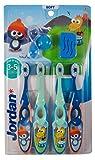 Jordan ® | Step 2 Spazzolino da denti Bambini | Spazzolino per bambini di età 3-5 anni | Setole morbide, doppio manico ergonomico e senza BPA | Colore Blu & Verde | Confezione 4 unità