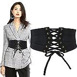 Cintura corsetto nera per donna,cintura elastica in vita con lacci alla moda legata con cintura larga Waspie per donne e ragazze