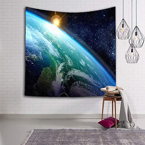 WERT Tapiz de Cielo Estrellado Tela Tejida Planeta Sci-Fi Galaxy Manta Decorativa Multicolor Tapiz Decorativo para Interiores y Sala de Estar A3 130x150cm