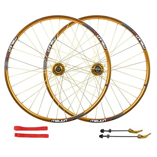 Accesorio de Bicicleta de Ejes de liberación rápid MTB Bike Wheelset 26 Pulgadas Disco Freno de Ciclismo Ruedas de Doble Pared aleación llanta QR para Cassette Hub Bicycle 7-10 Speed 32H Bicicleta de