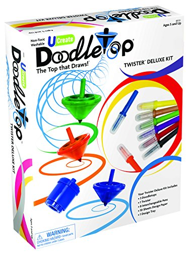 U-Create Doodletop Twister Deluxe Kit with 1 Design Tray, Marker Pens, Drawing Games, Creative Art Spiral Spinning Top for Kids Age 5 & Above