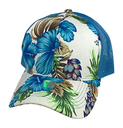 Prfcto Lifestyle Floral Print Trucker Baseball hat - Hawaiian Flower Baseball Caps Mesh Back (Aqua & White Floral)