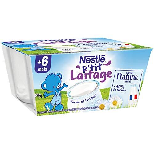 Nestlé Bébé P'tit Laitage Saveur Nature - Laitage dès 6 mois - 4x100g - Pack de 6 ( 24 Laitages )