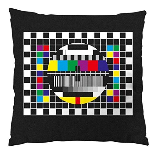 style3 Testbild Kissen mit Füllung Baumwollbezug Sheldon Monitor Retro Fernseher tv, Farbe:Schwarz