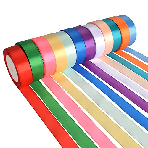 AIBAOBAO Curling Ribbon 12 Colour, Satin Ribbon Rolls 25mm X 23 Metres/Roll, Double Sided Woven Balloons Ribbon for Fabric, DIY Crafts, Gift Wrapping, Bows, Bouquets, Party Wedding Garlands Decor