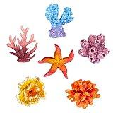 UEETEK 6 piezas multicolor decoración de acuario estrella del mar artificial falso coral escondido para decoración de acuario