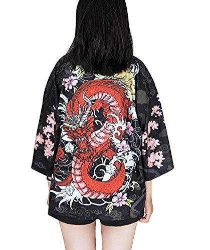 Women's 3/4 Sleeve Loose fit Japanese Shawl Kimono Cover up Onesize US S-XL