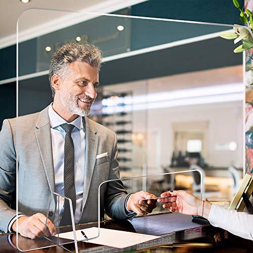 Moweallarge Spuckschutz aus Acrylglas Virenschutz -Transparente Schutzwand Schutzplatte gegen Viren mit öffnender Schutzplatte für transparente Trennwand für Apotheken Schalter, Büro, Krankenhaus