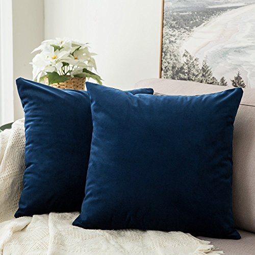 MIULEE Pack of 2 Velvet Soft Decorative Square Throw Pillow Case Cushion Covers Luxury Pillowcases for Livingroom Sofa Bedroom with Invisible Zipper 50cm x 50cm,20x20 Inches Navy Blue