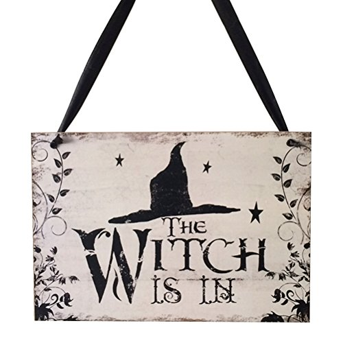 Tinksky Halloween Welcome Sign Hanging Tag Wall Plaque with Witch Hat Decoration Props for Door Window Bar Shopping Malls Halloween