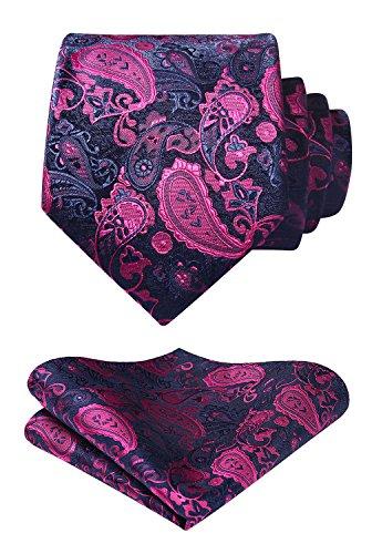 HISDERN Floral Paisley Wedding Tie Panuelo Corbata y conjunto de bolsillo para hombre